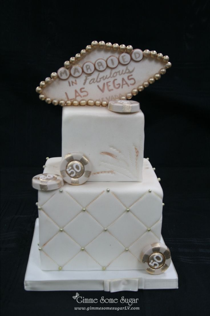 Classic Bronzed Vegas Themed Wedding Cake GimmesomesugarLV
