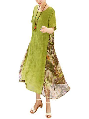 Vintage Women Short Sleeve O Neck Floral Printed A-line Loose Dress