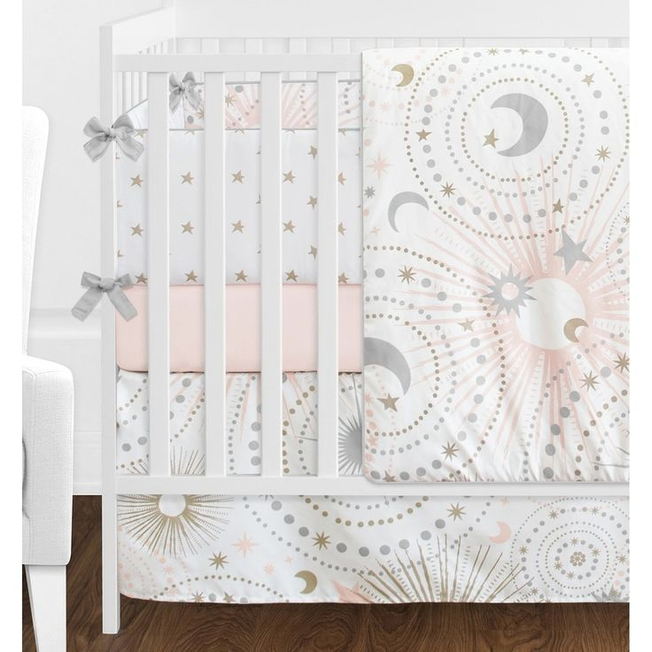 Sweet Jojo Designs Blush Pink Gold Grey and White Star and Moon Celestial Collection Baby Girl 9-piece Crib Bedding Set | Overstock.com Shopping - The Best Deals on Bedding Sets