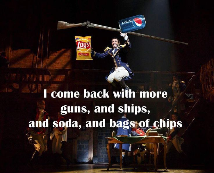 "HAMILTON Guns & Ships Misheard lyrics It should've been like; ""And I come back with more gum and chips, I wrote a grocery list"" or something."