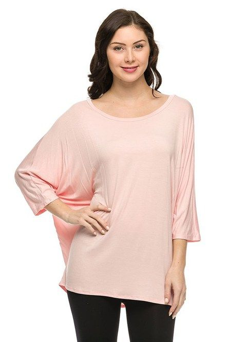 Plus Size Batwing Top Peach