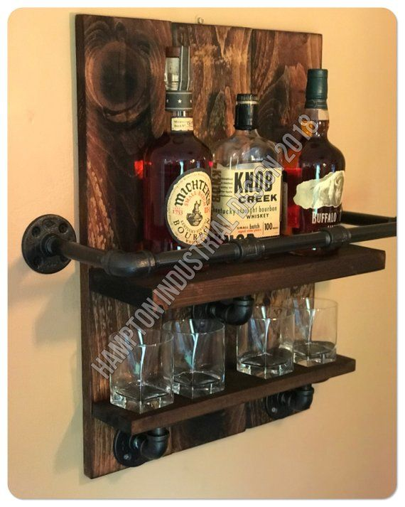 Bourbon Whiskey Rack, Reclaimed Pallet Wood and Industrial Pipe, Bar