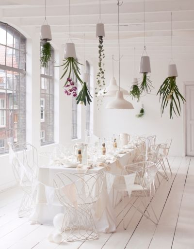 Party en Blanc, Brisbane style. Those lovely upside-down planters from @welivelikethis, white linen from the Fabric Store. Table settings from Hamptons Home Living, and chairs from Woolloongabba Antique Centre or The Home Warehouse. Oh la la.