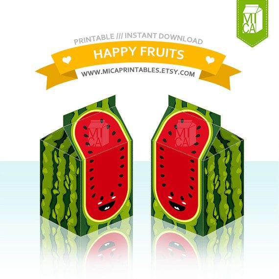Happy Fruits Printable Party Favor Treat Gift by MicaPrintables #watermelon #red #favorbox