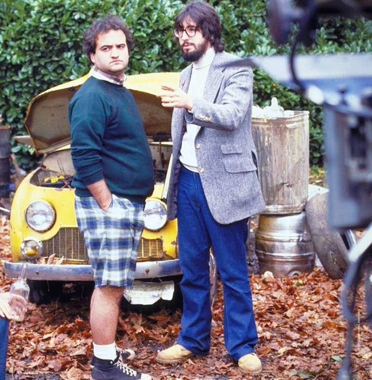 """On the set of """"National Lampoon's Animal House"""", 1978.  L to R:  John Belushi, director John Landis."""