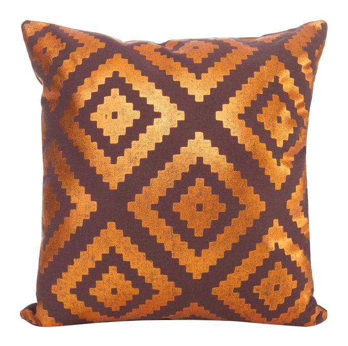 Poszewka na poduszkę w kolorze brązowym z miedzianym wzorem
