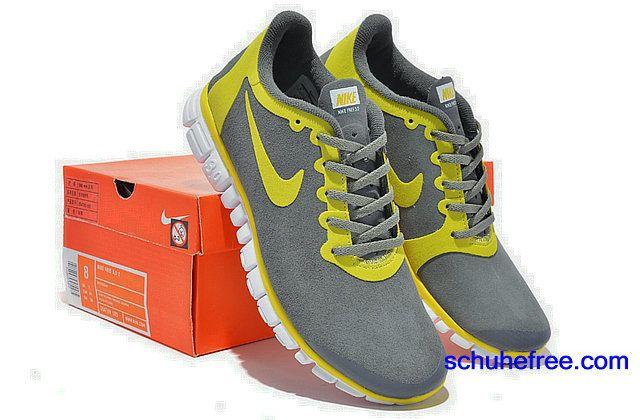 Damen Nike Free 3.0 V2 Anti -Pelz-Schuhe Tief Grau Gelb