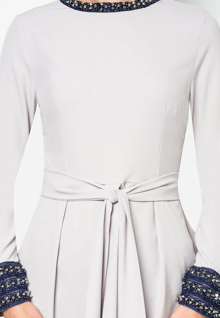 Buy Diana Danielle x Emel by Melinda Looi Baju Kurung with Studded Trim And Bow Peplum | ZALORA Malaysia