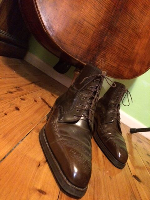 Vass cordovan boots in two shades of brown, Dainite sole. Double bass wood approx 500 years old.