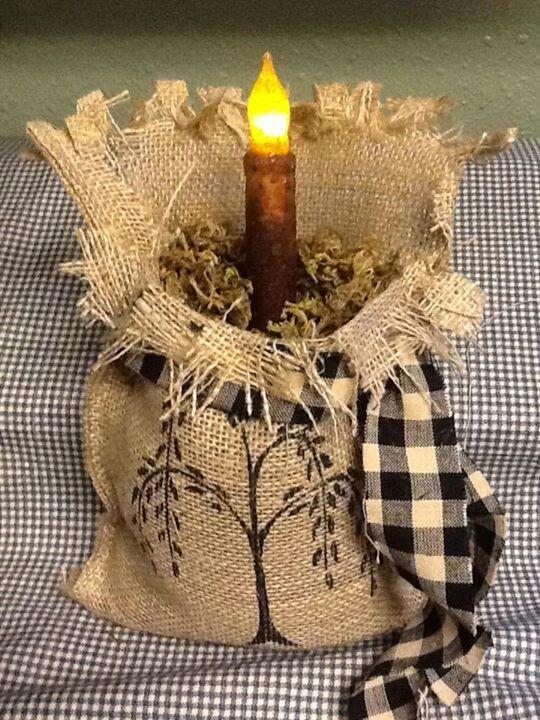 Burlap bag decoration