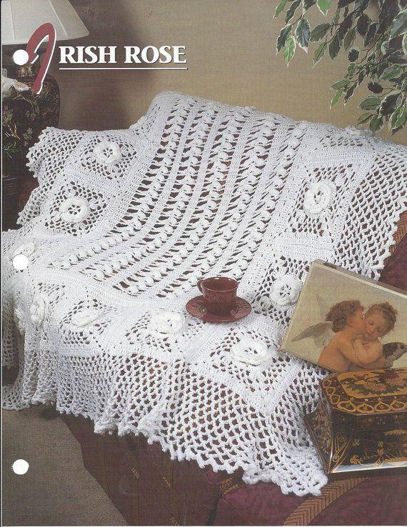 Rose irlandesa patrón afgano  colcha de por KnitKnacksCreations
