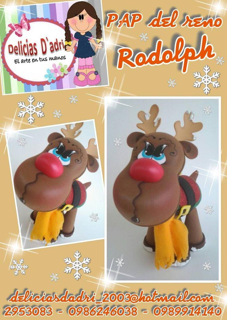 Reno Rudolph en goma eva paso a paso y moldes de Delicias d'Adri, hermoso adorno navideño para decorar nuestro hogar.
