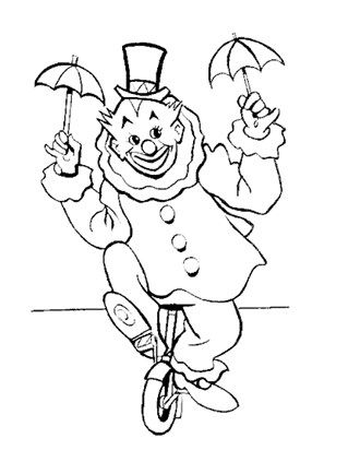 Clown Unicycle Coloring Page Coloring Pages Free Coloring Pages Coloring Books