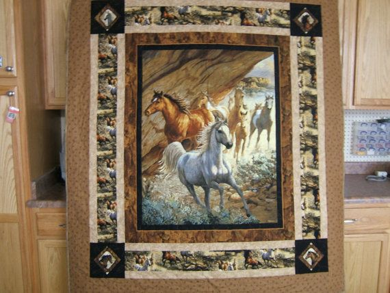 Wild Horse Quilt, Independence Pass by Springs Creative Products, Persis Clayton Weirs, Outdoor Themed, Lap Quilt, Gift for Horse Lovers