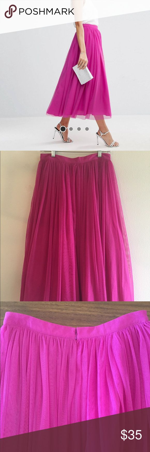 ASOS Tulle Prom Skirt - hot pink Tulle overlay with multi layers. Midi skirt. Falls below the knee and above the ankle. Purchased in August 2017 for a wedding. Only worn once. Love it! Asos Skirts Midi
