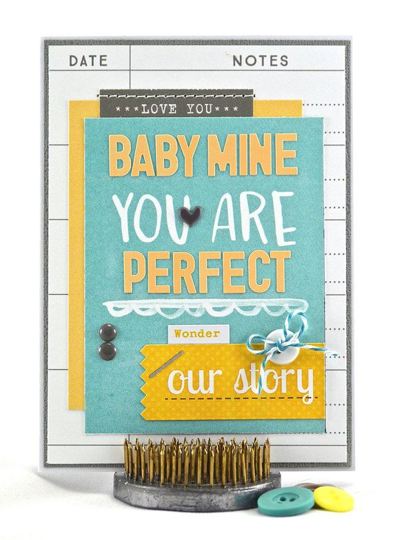 """A blue and yellow card is perfect for welcoming a bouncing baby boy into the world, especially when it says, """"Baby Mine You Are Perfect"""". #thecardkiosk"""