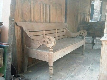 "Race bench ""bangku/ risban"" . Made of teak. Suitable for indoor or outdoor furniture. Need finishing. Originally from Kudus, Central Java."