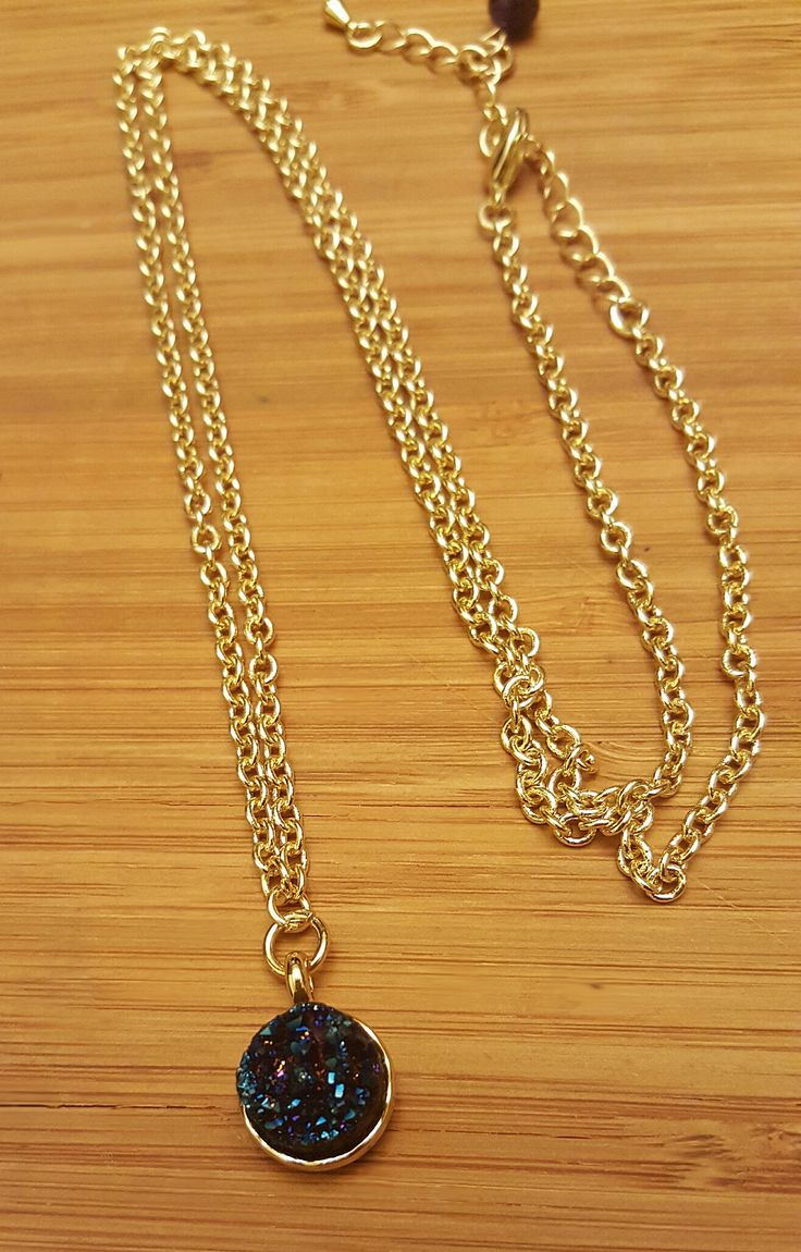 Druzy pendant necklace.