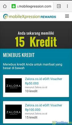 Proses penukaran poin MobileXpression dengan voucher belanja gratis dari Zalora   SurveiDibayar.com