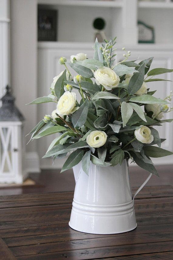 Farmhouse Pitcher With Ranunculus And Eucalyptus Love This For A Dining Table Centerpiece Or A Coffee Table Decor Farmhouse Decor Country Farmhouse Decor