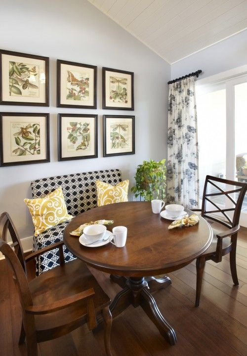 Straight bench w round table dining room chairs pinterest curtain rods table and chairs - Kitchen nook decorating ideas ...