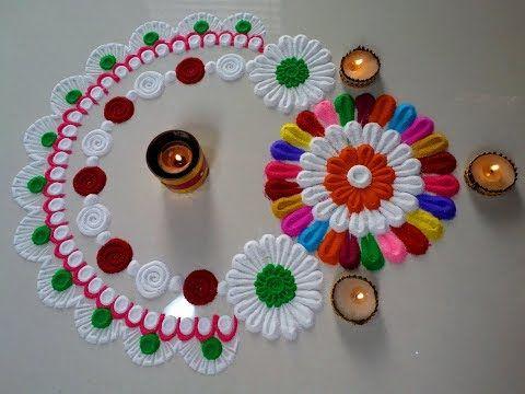 How to make easy and simple rangoli designs/innovative and beautiful rangoli designs by jyoti Rathod - YouTube