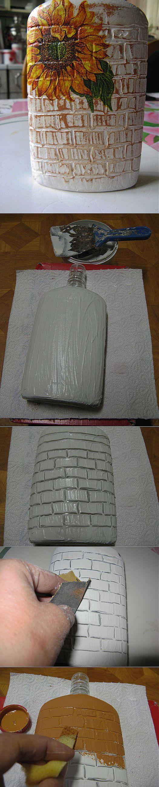 Imitation of 'bricks' on the bottle