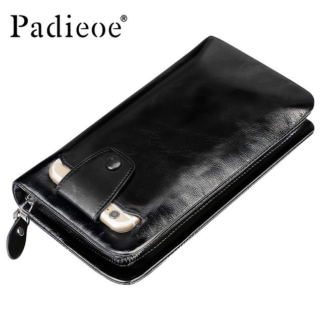 Special offer Padieoe 2017 Men's Genuine Leather Wallets Crazy Horse Zipper Clutch Bag Phone Card Holder Organizer Long Purses For Male 40P just only $35.99 with free shipping worldwide  #walletsformen Plese click on picture to see our special price for you