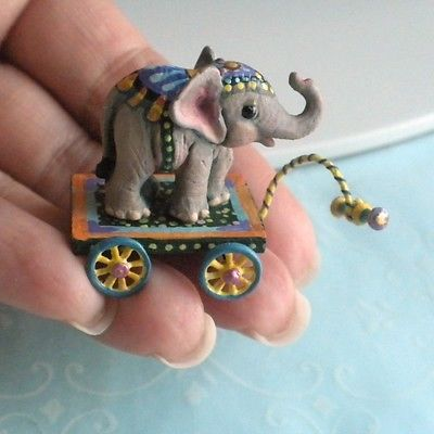 Amazing Elephant Pull Toy IGMA Artisan Amamda Skinner Dollhouse Miniature Animal