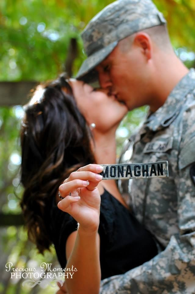 Precious Moments Photgraphy- Army, engagement, love. Her holding her soon to be last name!  Www.facebook.com/ashleyvailsphotography