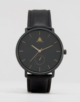 Черные часы с золотистыми стрелками ASOS