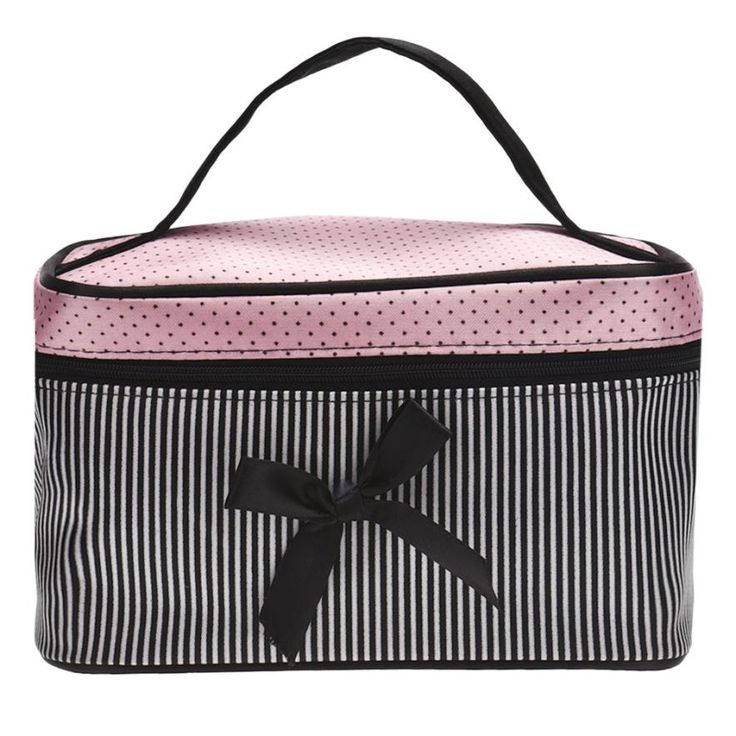 Naivety 2016 New Bowknot Stripe Makeup Cosmetic Bag Square Storage Box Make Up Organiser Container 11S60921 drop shipping