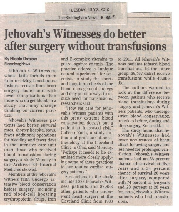 "Jehovah's witnesses do better after surgery w/o transfusions.  ""Our God Jehovah knows what is best for his people thus the admonition to"" Abstain from blood"" ""He teaches us how to benefit ourselves""."