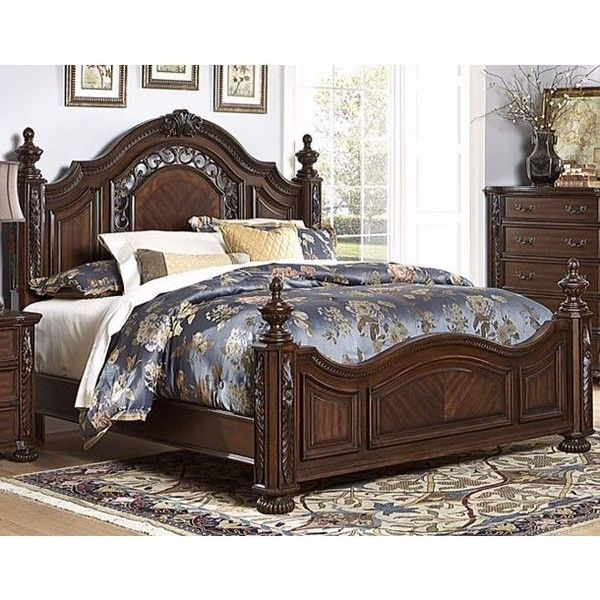 Augustine Court Brown Cherry Cal-King Post Bed ❤ liked on Polyvore featuring home, furniture, beds, dark brown bed, california king bed headboard, cal king headboard, ornate beds and cal king poster bed