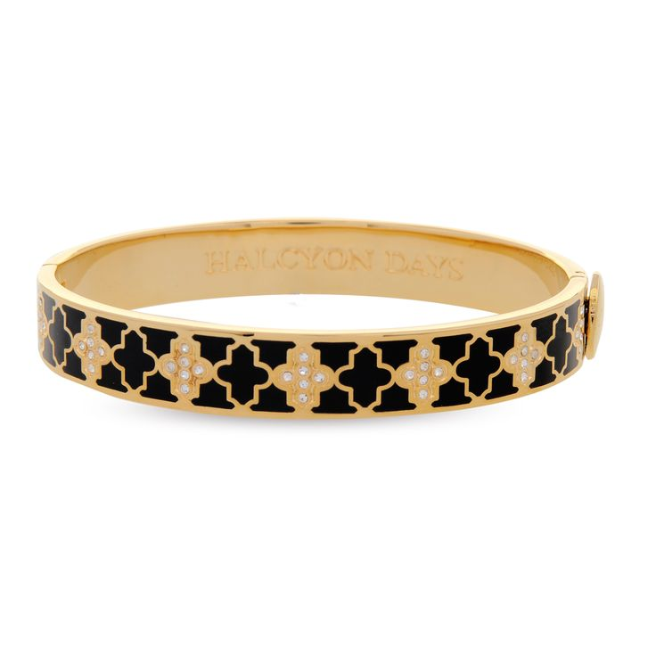 #AW14 Agama black enamel and crystal bangle plated with 18ct gold