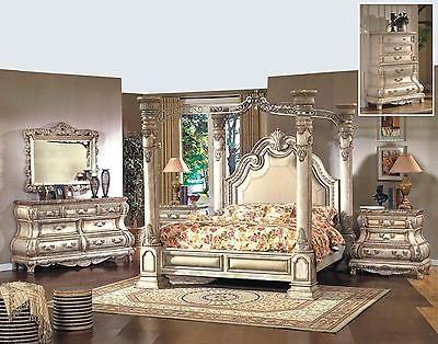 Bedroom Sets 20480 Mcferran B9087 Ek Monaco White 4pcs King Canopy Bedroom Set