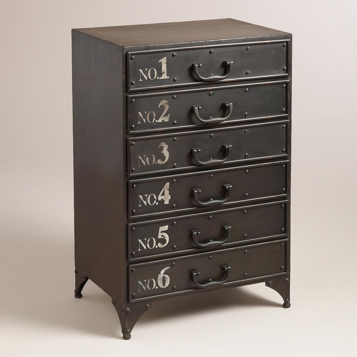 Featuring Six Drawers With White Painted Numbers Metal Drawer Pulls And Mesh Wire Sides