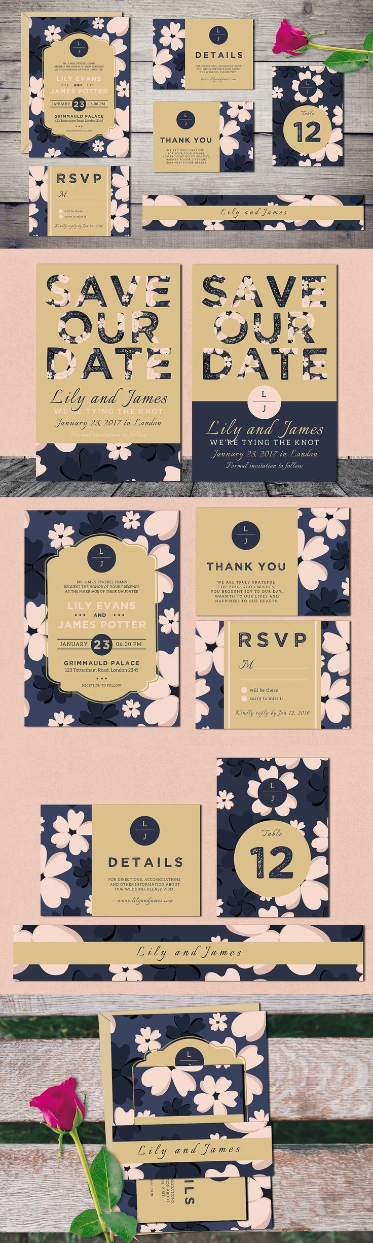 free wedding invitation psd%0A Bloomy  Wedding Invitation Suite Template PSD  PDF