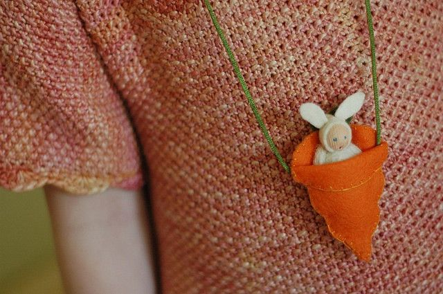 felted easter bunny necklace by waldorf mama