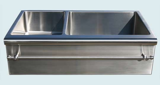 Kitchen Sinks - Stainless Kitchen Sinks- Custom Farmhouse Sinks Stainless Kitchen Sinks - Bullnose Apron With Towel Bar # 3050