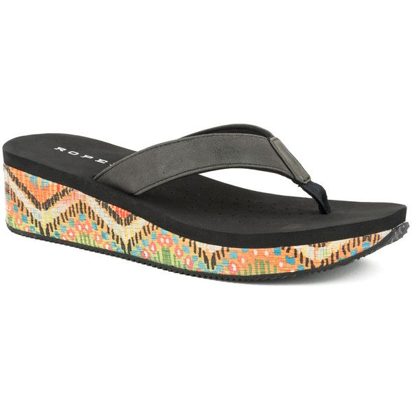 Roper Black Chevron & Rafia Leather Wedge Flip-Flop ($30) ❤ liked on - The 25+ Best Wedge Flip Flops Ideas On Pinterest Flip Flop Shoes