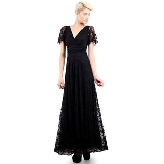 Evanese Women's Elegant Lace Evening Party Formal Long Dress Gown with Empire Waist Full Skirt and Short Sleeves