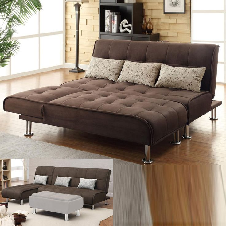 Best 25 futon couch ideas on pinterest futon cushions for Brown microfiber chaise lounger