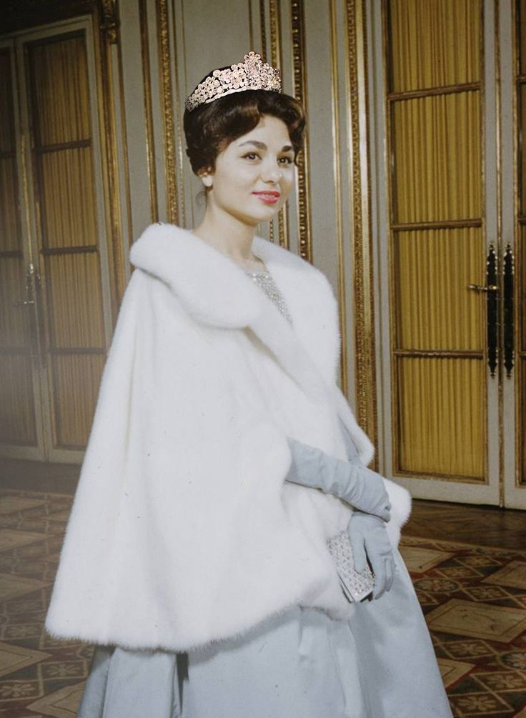 Farah Diba white fur and tiara