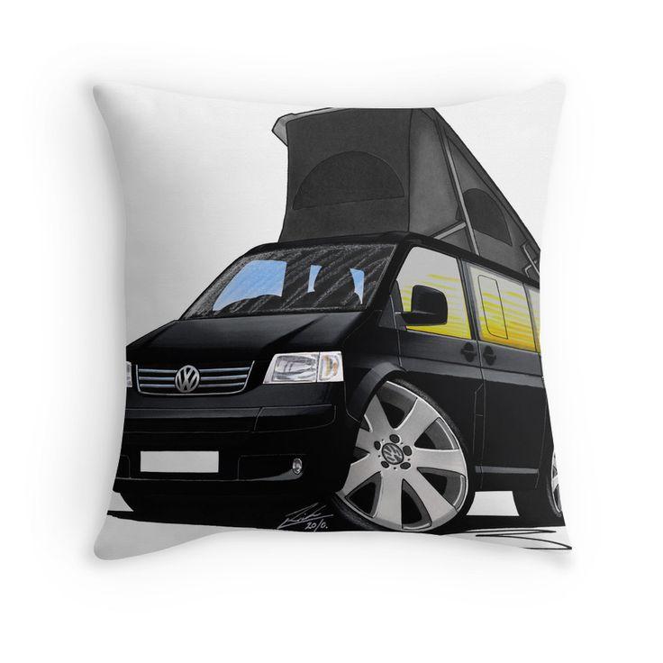 VW T5 California Camper Van Black Throw Pillows
