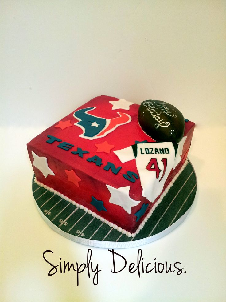 Texans!! #texans #cake #fondant #red #houston (Like this cake!? Like my facebook page for updates and pics!!)