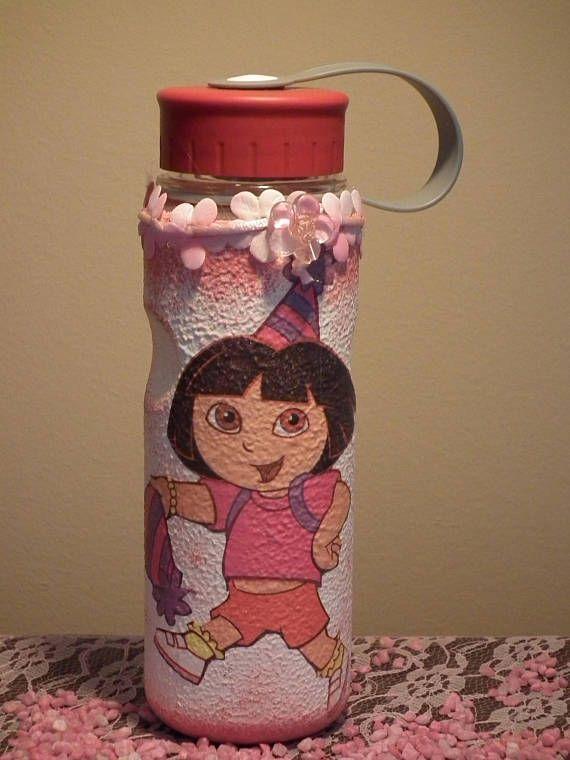 Dora the explorer decor decoupage plastic flask for child fans
