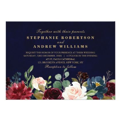 Watercolor Burgundy Red Navy Floral Rustic Boho Invitation | Zazzle.com
