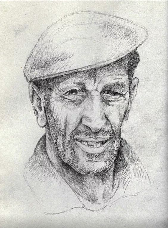 Pencil study for a portrait.