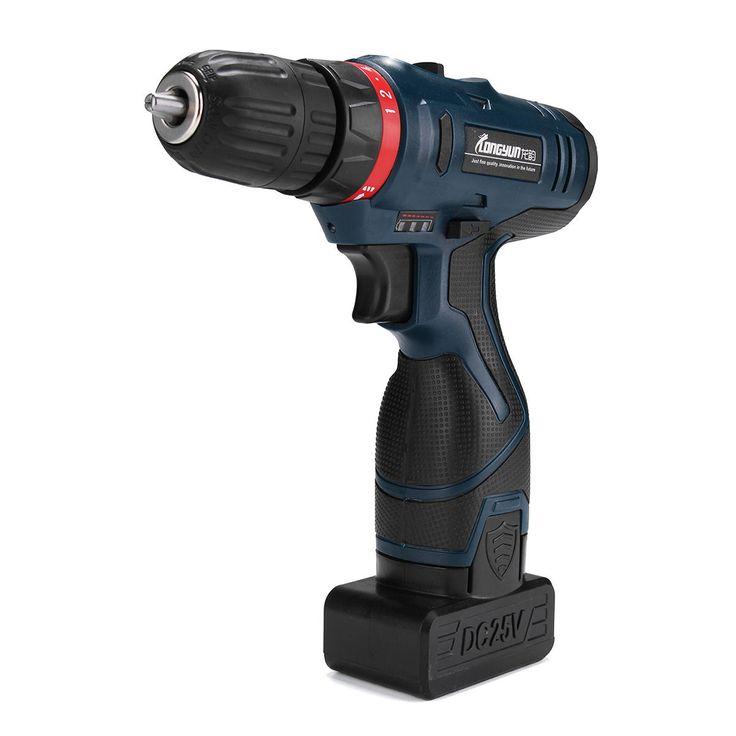 [US$88.89] 25V Li-Ion Cordless Electric Hammer Power Drill Driver Hand Kit 2 Speed LED Waterproof  #cordless #drill #driver #electric #hammer #hand #liion #power #speed #waterproof